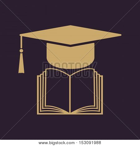 The graduation cap and book icon. School and university, learning, education symbol. Flat Vector illustration