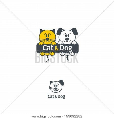 Cat And Dog Vector Logotype Template