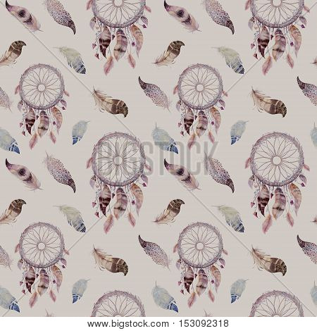 Dreamcatcher and feather pattern. Watercolor bohemian decoration. Watercolour color dream catcher design. Seamless repeating colour boho print. Tribal hand drawn chic wallpaper.