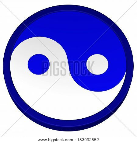 Yin Yang Symbol isolated on white background. 3D rendering.