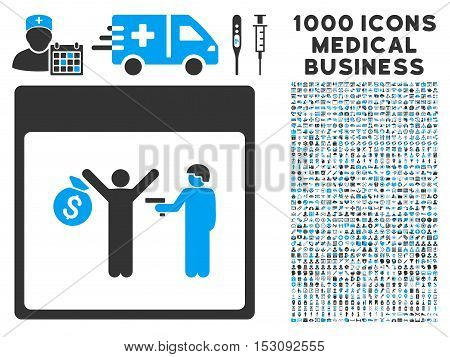 Blue And Gray Arrest Calendar Page glyph icon with 1000 medical business pictograms. Set style is flat bicolor symbols, blue and gray colors, white background.