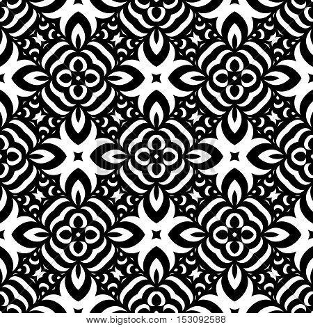 Black White Seamless Wallpaper. Vintage Pattern. Retro Background