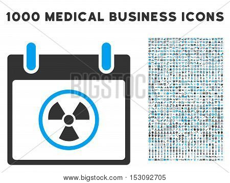 Blue And Gray Atomic Calendar Day glyph icon with 1000 medical business pictograms. Set style is flat bicolor symbols, blue and gray colors, white background.