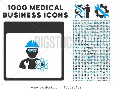 Blue And Gray Atomic Engineer Calendar Page glyph icon with 1000 medical business pictograms. Set style is flat bicolor symbols, blue and gray colors, white background.