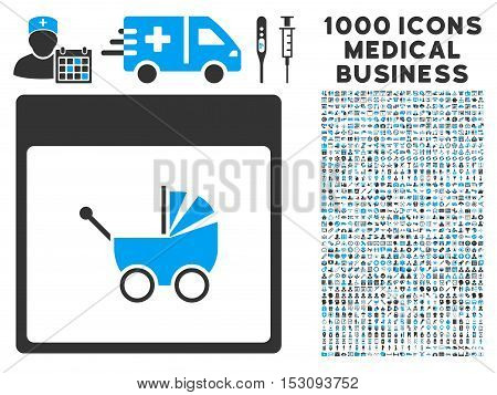 Blue And Gray Baby Carriage Calendar Page glyph icon with 1000 medical business pictograms. Set style is flat bicolor symbols, blue and gray colors, white background.