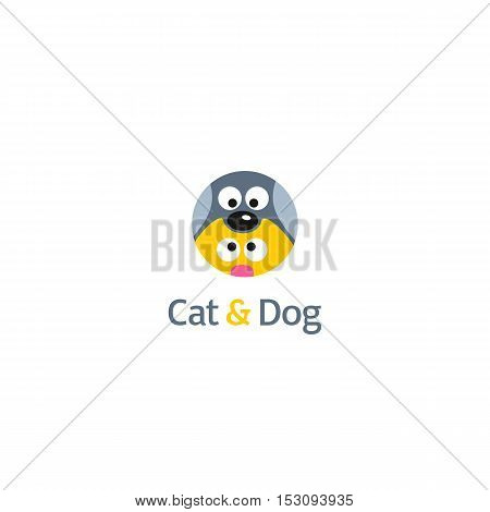 Funny Cat And Dog Logo Template. Vector Cartoon Illustration.