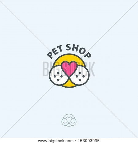 Pet Shop Vector Logo Template. Pet Nose In Form Of Heart.