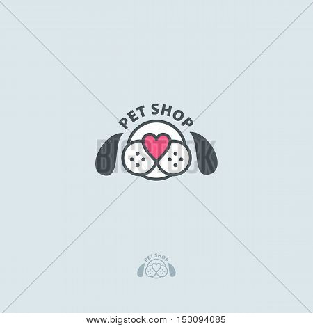 Pet Shop Vector Logo. Dog Head And Nose In The Shape Of A Heart.