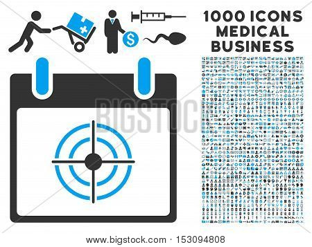 Blue And Gray Bullseye Calendar Day glyph icon with 1000 medical business pictograms. Set style is flat bicolor symbols, blue and gray colors, white background.