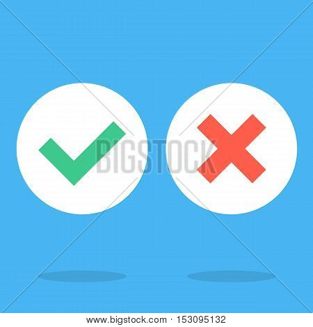 Vector flat design checkmarks icons set. Creative graphic elements for web sites, web banners, printed materials, infographics. Green tick, green check mark symbol and red cross sign white round icons