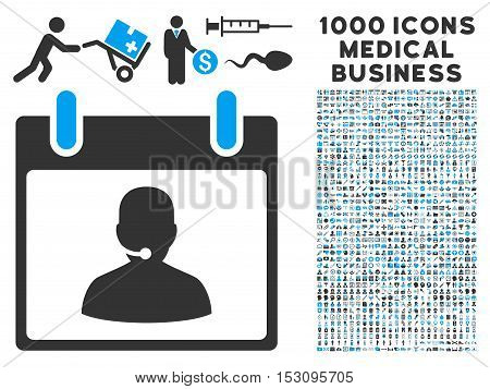 Blue And Gray Call Center Manager Calendar Day glyph icon with 1000 medical business pictograms. Set style is flat bicolor symbols, blue and gray colors, white background.