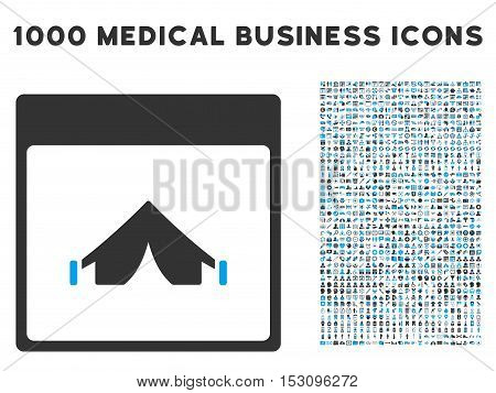 Blue And Gray Camping Calendar Page glyph icon with 1000 medical business pictograms. Set style is flat bicolor symbols, blue and gray colors, white background.