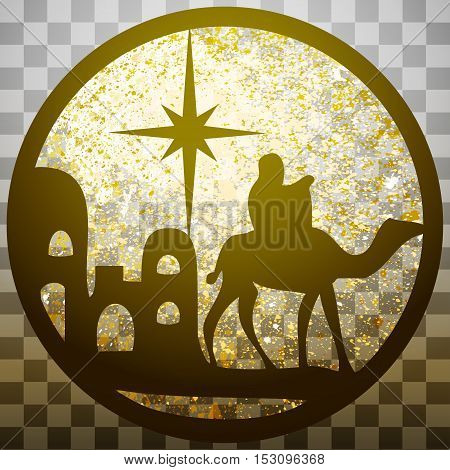 Adoration of the Magi silhouette icon vector illustration gold on gray transparent background. Scene of the Holy Bible