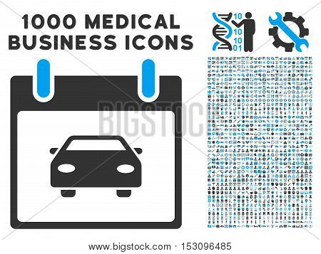Blue And Gray Car Calendar Day glyph icon with 1000 medical business pictograms. Set style is flat bicolor symbols, blue and gray colors, white background.