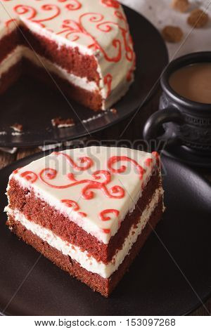 Delicious Slice Of Red Velvet Cake On A Plate Closeup. Vertical