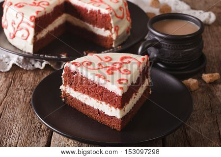 Sliced Red Velvet Cake And Coffee With Milk On The Table. Horizontal