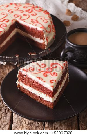 Beautiful Piece Of Red Velvet Cake On A Plate Closeup. Vertical