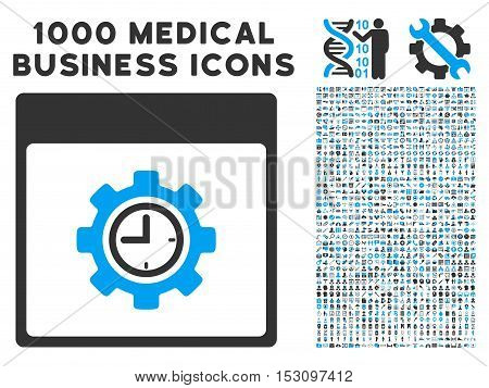 Blue And Gray Clock Configuration Gear Calendar Page glyph icon with 1000 medical business pictograms. Set style is flat bicolor symbols, blue and gray colors, white background.