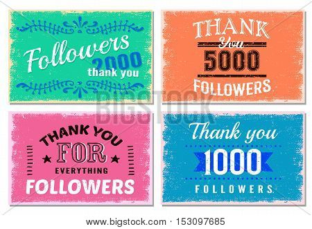 Four square thank you followers emblem set with numbers of followers on multicolored background vector illustration