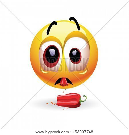 Very hot chili pepper causing pain and fear with smiley who eats it. Humoristic vector illustration. Shock because of the first bite. Hot pepper challenge.