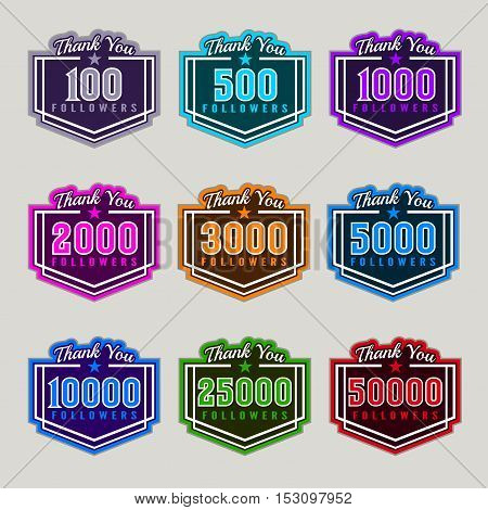 Thank you followers badge set with numbers of followers in different color vector illustration