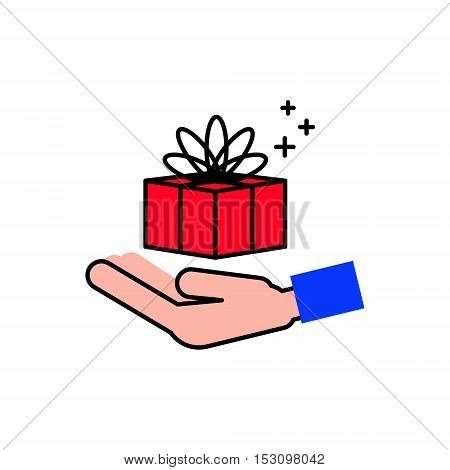 Gift and hand. Icon to give gifts. Flat line