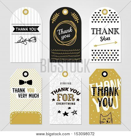 Colored thank you tag set in different shapes with thank you very much thank you for everything vector illustration