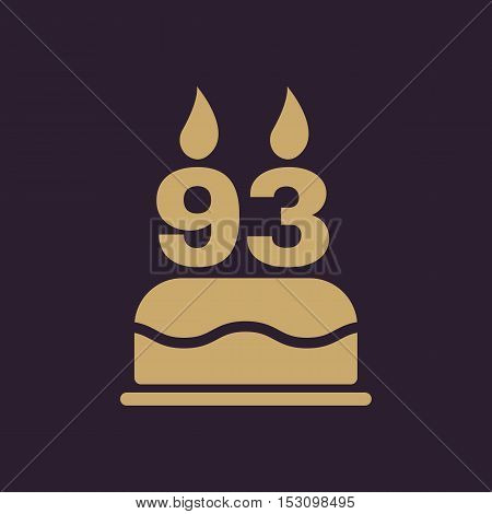 The birthday cake with candles in the form of number 93 icon. Birthday symbol. Flat Vector illustration