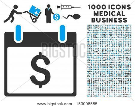Blue And Gray Dollar Calendar Day glyph icon with 1000 medical business pictograms. Set style is flat bicolor symbols, blue and gray colors, white background.