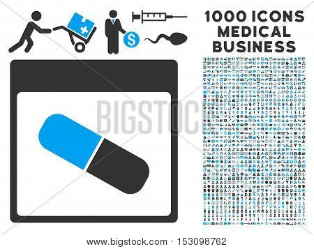 Blue And Gray Drugs Capsule Calendar Page glyph icon with 1000 medical business pictograms. Set style is flat bicolor symbols, blue and gray colors, white background.
