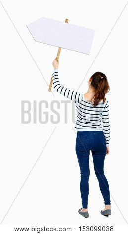Back view woman showing sign board. man holds information plate. Rear view people collection. backside view of person. Isolated over white background. girl in a striped shirt holding a pointer.