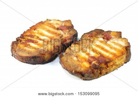 grilled two pork chop on white background