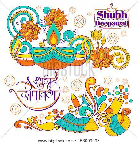 illustration of burning diya on happy Holiday doodle background for light festival of India with message Shubh Deepawali meaning Happy Diwali