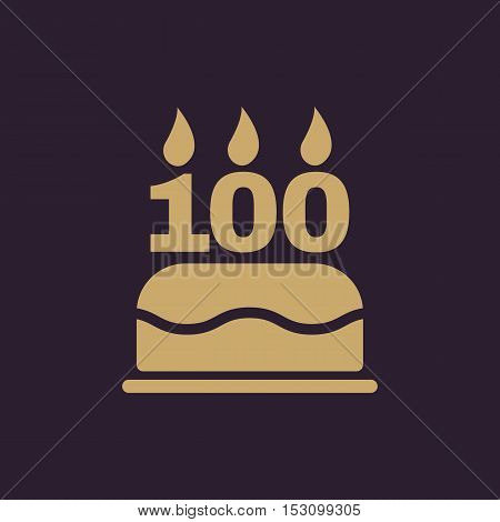 The birthday cake with candles in the form of number 100 icon. Birthday symbol. Flat Vector illustration