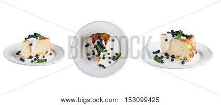 Cottage Cheese Baked Pudding, Sour Cream And Blueberries  Isolated