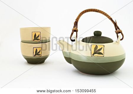 Chinese Tea Set With Cups Of Tea Isolated