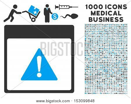 Blue And Gray Error Calendar Page glyph icon with 1000 medical business pictograms. Set style is flat bicolor symbols, blue and gray colors, white background.