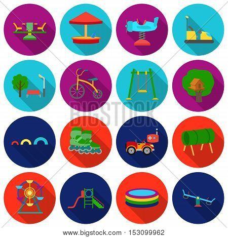 Play garden set icons in flat style. Big collection play garden vector symbol stock