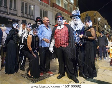 People take part in Halloween celebrations in Malaga October 31 2015. Spain