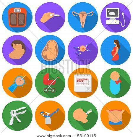 Pregnancy set icons in flat style. Big collection pregnancy vector symbol stock