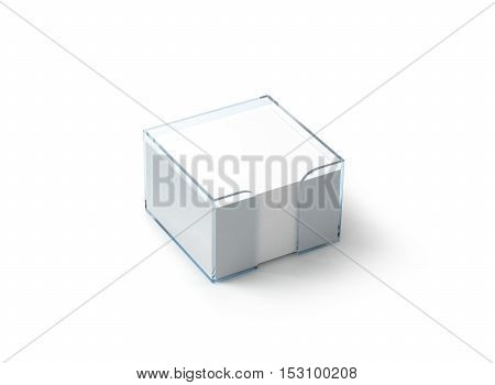 Blank white note paper block plastic holder mockup clipping path 3d rendering. Empty glue stickers hold in transparent glass box mock up. Post it notepads organizer template. Loose adhesive memos.