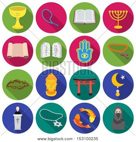 Religion set icons in flat style. Big collection religion vector symbol stock