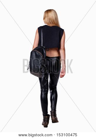 back view of walking  woman. beautiful girl in motion.  backside view of person.  Rear view people collection. Isolated over white background. Blonde in leather pants standing with backpack goes away.