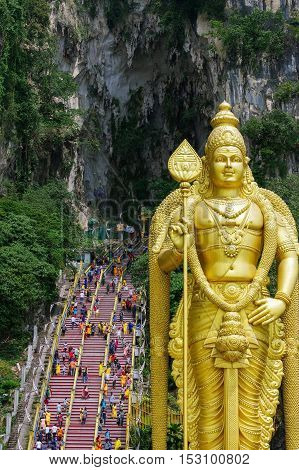 KUALA LUMPUR MALAYSIA - January 17 2016. a Statue of Lord Muragan at Batu Caves.