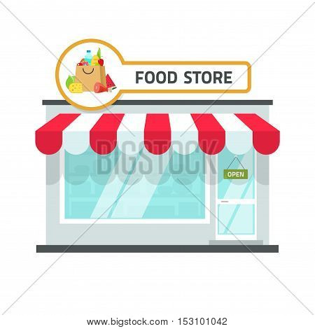 Food store building vector illustration isolated on white background, grocery shop facade with food signboard on roof front view, storefront flat cartoon style