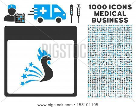 Blue And Gray Festive Rooster Calendar Page glyph icon with 1000 medical business pictograms. Set style is flat bicolor symbols, blue and gray colors, white background.