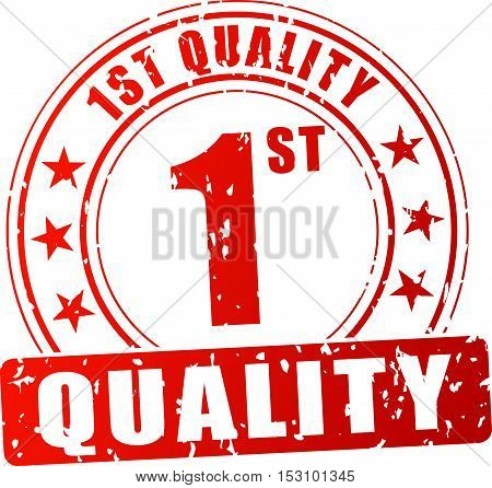 Illustration of first quality stamp on white background