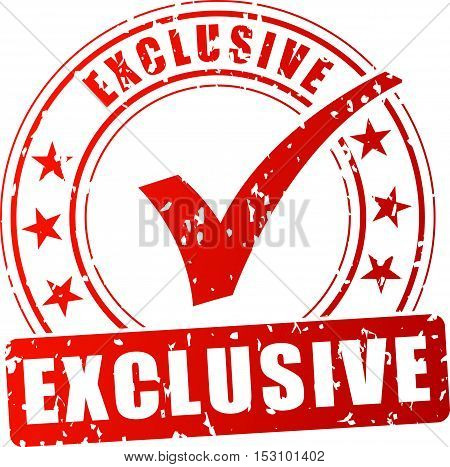 Illustration of exclusive red stamp on white background