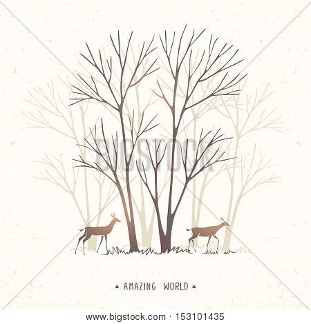Beautiful and amazing stylized two deer and trees. Hand drawn sketch. Stylish vector illustration