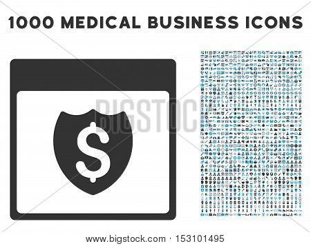Blue And Gray Financial Shield Calendar Page glyph icon with 1000 medical business pictograms. Set style is flat bicolor symbols, blue and gray colors, white background.